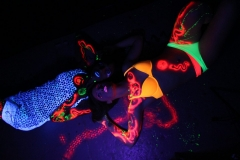 Neon body painting, airbrushing, and photography